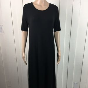 Johnny Was Calme Black Maxi Dress Short Sleeve